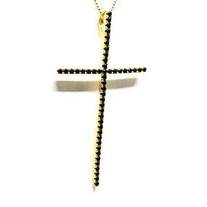 Colar cruz com pedra de zirconia preta folheado em ouro 18k