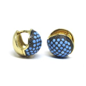 Argola redonda pedraria azul folheada em ouro 18k