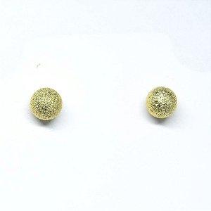 Brinco redondo diamantado folheado em ouro 18k