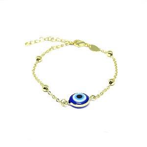 Pulseira olho grego de bolinhas folheado em ouro 18k