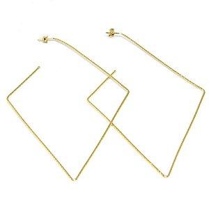 Argola geométrica diamantada folheada em ouro 18k
