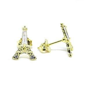 Brinco pequeno Torre Eiffel folheado em ouro 18k