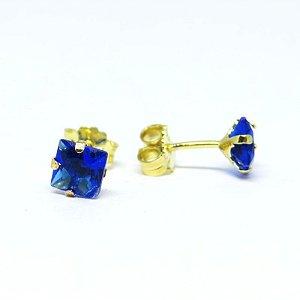 Brinco ponto de luz azul folheado em ouro 18k