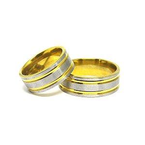 Aliança fio de ouro folheada em aço
