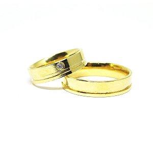 Aliança masculina folheada em ouro 18k