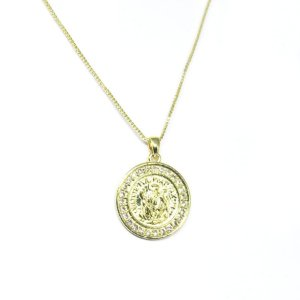 Colar medalha São Bento com zirconia folheado em ouro 18k