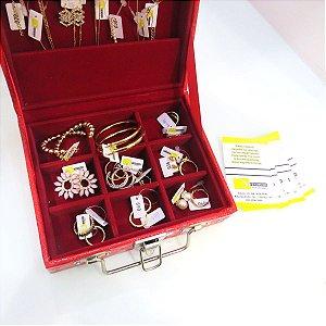 Maleta para revenda- 24 peças semi joias folheado em ouro 18k