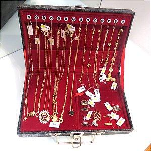 Maleta Revenda- 34 peças folheadas em ouro 18k
