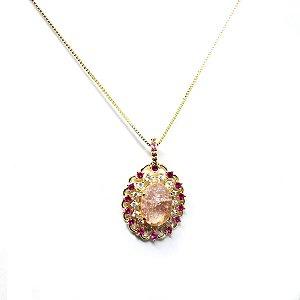 Colar pedra fusion rosa e zirconia folheado em ouro 18k