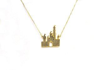 Colar Castelo Disney zirconia preta folheado em ouro 18k