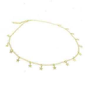 Gargantilha pingente de Estrela folheado em ouro 18k