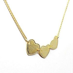 Choker 3 corações folheado em ouro 18k