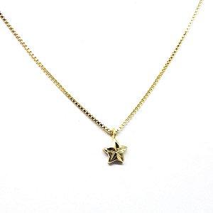 Colar pingente delicado estrela folheado em ouro 18k