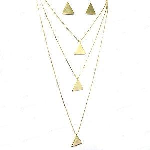 Conjunto geométrico folheado em ouro 18k