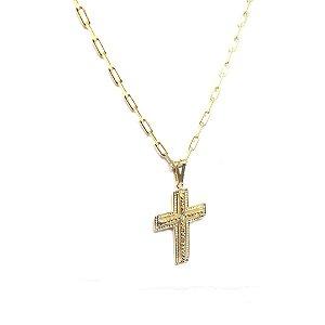 Corrente Cartier crucifixo folheado em ouro 18k