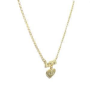 Colar pingente Love Mãe folheado em ouro 18k
