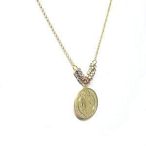 Colar medalha de São Bento folheado em ouro 18k