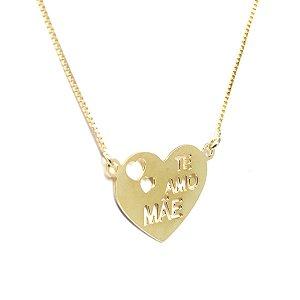 Colar coração Mãe folheado em ouro 18k