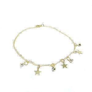 Tornozeleira estrela folheada em ouro 18k
