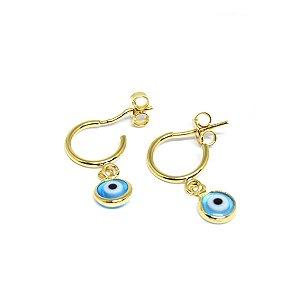Brinco argolinha pingente olho grego folheado em ouro 18k