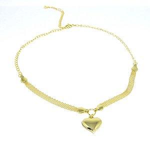 Choker pingente com coração folheada em ouro 18k