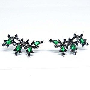 Brinco Ear Cuff verde esmeralda