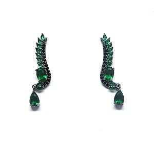 Brinco pequeno cristal verde esmeralda