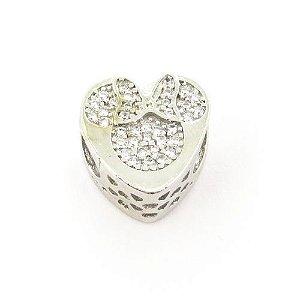 Berloque pingente coração Minnie cravejado de zirconia