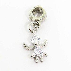 Berloque pingente anjo com vidro lapidado