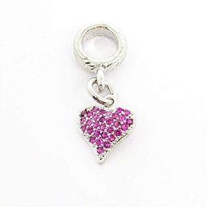 Berloque pingente coração com pedra rosa