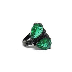 Anel de festa com pedra fusion verde