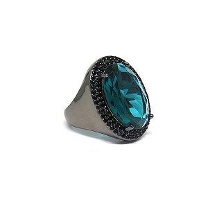 Anel pedra oval esmeralda