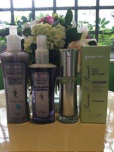 KIT: Banho de Espuma Elixir Lemurianas 200ml + Loção Facial Hidratante Elixir Flores Lemurianas 150 ml + Serum Facial Bio-Protetor Pomme D´ Beauté 50ML