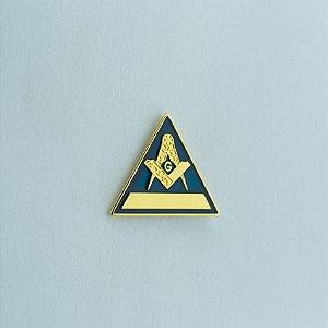 BT-006-A - Pin Esquadro e Compasso Triangular Azul - Com Filete