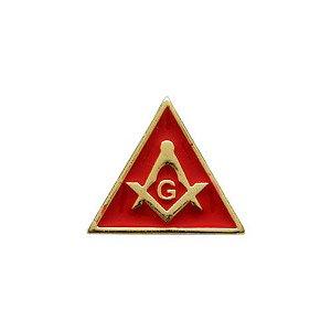 BT-007-V - Pin Esquadro e Compasso Triangular Vermelho