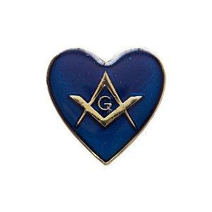 BT-008-A - Pin Coração com Esquadro e Compasso Azul