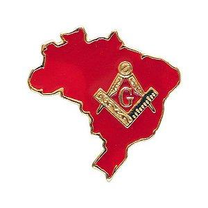 BT-053-V - Pin Mapa do Brasil com Esquadro e Compasso Vermelho