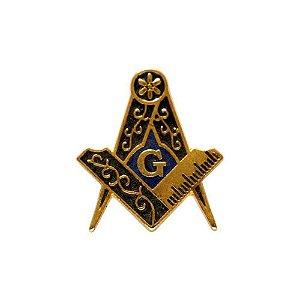 AP-008-DA - Aplique Esquadro e Compasso Dourado Azul - 2 cm