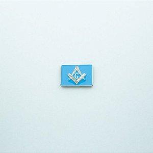 AP-014-A - Aplique Esquadro e Compasso Retangular Azul - 22x20 mm