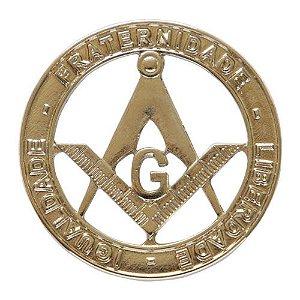 AP-015-N - Aplique Esquadro e Compasso Niquelado - Fraternidade - Liberdade - Igualdade