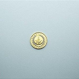 AP-017-D - Aplique Esquadro e Compasso Trabalhado Redondo Dourado - 22 mm