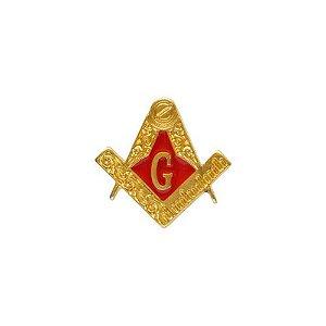 AP-025-V - Aplique Esquadro e Compasso Trabalhado Vermelho