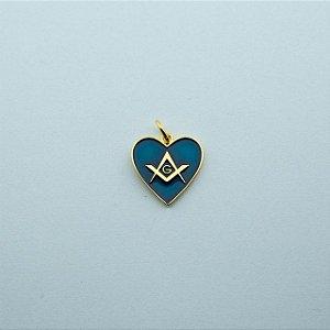 PI-005-A - Pingente Coração Esquadro e Compasso Azul