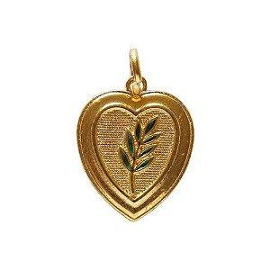 PI-014-D - Pingente Coração com Acácia Dourado