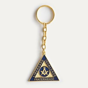 CH-037-A - Chav. Esquadro e Compasso Triangular Dourado Azul