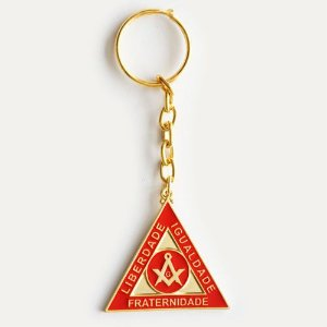 CH-037-V - Chav. Esquadro e Compasso Triangular Dourado Vermelho