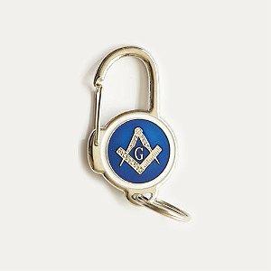 CH-058-A - Chav. Esquadro e Compasso Azul - Mosquetão Redondo