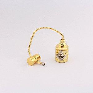 PR-002-D2 - Prumo Dourado com Esquado e Compasso - Sem Estojo