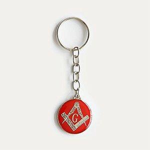 CH-026-NV - Chav. Esquadro e Compasso Redondo Vermelho 2,5 cm
