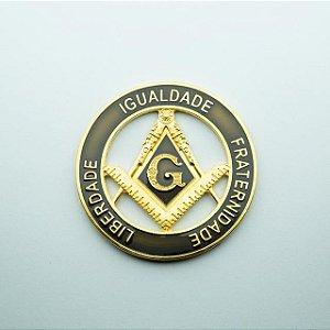 AP-037-D - Aplique Liberdade - Igualdade - Fraternidade Dourado - 70 mm